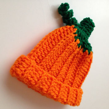 Pumpkin Hat - Photo Prop - Baby Pumpkin Hat - Halloween - Fall - Autumn Hat - Baby to Adult Sizing - Handmade Crochet - Made to Order