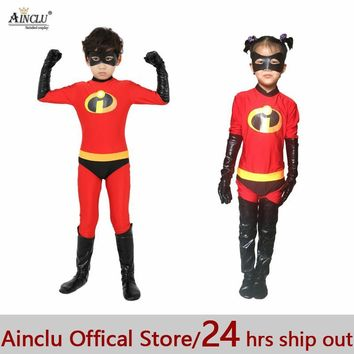 Cool Ainclu 24hrs Out The Incredibles Costume for kids High Elastic Lycra Spandex Bodysuit Second Skin Suit Child Cosplay CostumesAT_93_12