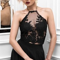 Girl's Club Sheer Mesh Lace Sleeveless Spaghetti Strap Halter Crop Bustier Top - 2 Colors Available