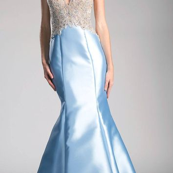 Perry Blue Halter Beaded Long Mermaid Prom Gown with Keyhole