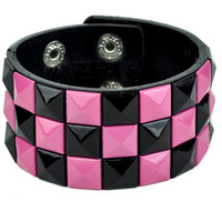 Black and Pink Pyramid Stud Wristband Gothic Jewelry Bracelet