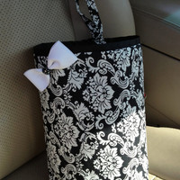 Car Trash Bag BLACK & WHITE DAMASK Teen, Girl, Women, Gifts Car Litter Bag, Auto Accessories, Car Organizer