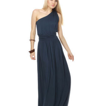 Graceful Navy Blue Dress - Maxi Dress - One Shoulder Dress - Grecian Dress - $41.00