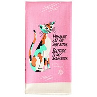 Humans are My Side Bitch Dish Towel in Pink with Cats