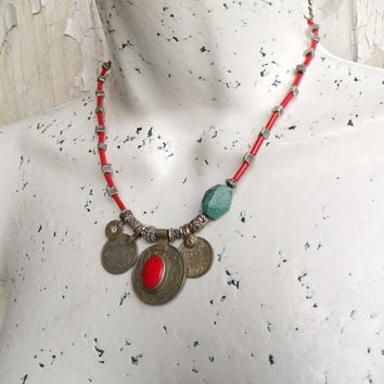 Nomadic Talisman Necklace - Tribal Gypsy, Coin Jewelry, Belly Dance, Golden Coral and Turquoise