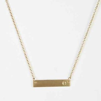 Gold Initial Bar Necklace