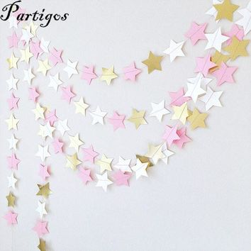 Pink black white Gold Glitter star Paper Garland 22 pieces/lot 2M  Party Decoration Supplies / 16 color options
