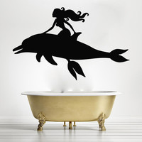 Mermaid Wall Decals Vinyl Stickers Nursery Home Decor Bathroom Dolphin Sea SM207