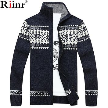 Riinr 2017 Winter New Arrival Men Cardigan High Quality Casual Knitting Warm  Snowflakes Pattern Stand Collar Cardigan Masculino