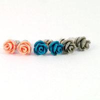 Handmade Peach Mini Rose, Midnight Blue Mini Rose and Grey Mini Rose Earring Set - 3 Pairs Vintage Look