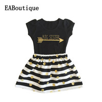 New Summer style Gold Letter printed big sister tee + striped skirt 2 piece set fashion outfit for 2-6 years old retail