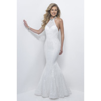 Sparkly Sequined Mermaid Prom Dresses Backless Sexy Evening Gowns 2017 White Long Prom Gowns Halter Neckline Beaded