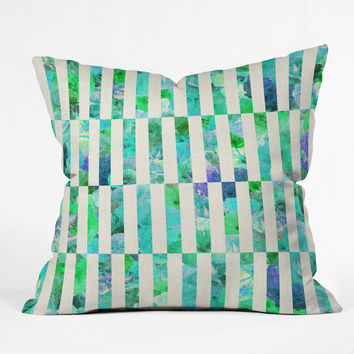 Bianca Green Floral Order Mint Throw Pillow