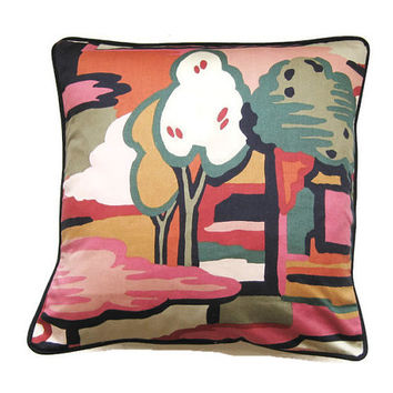 "Liberty's mid 70s. ""Enchanted Forest"" by Munro and Tutty dark red, dusky pink and  green cotton cushon throw pillow, homeware decor 18 x 18."