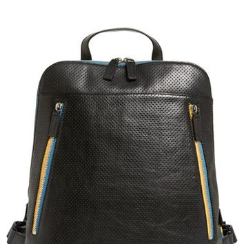 Men's Ben Minkoff 'Samsen' Perforated Leather Backpack - Black