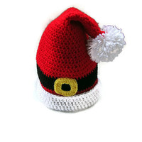 Santa Hat, Crochet Christmas Hat, Santa Baby, Santa Elf Hat, Toddler, Child, Adult Christmas