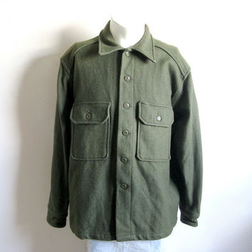 Vintage 1980s Wool Mens Shirt Army Green MWG Outdoors Wool Jacket XL Chest 48
