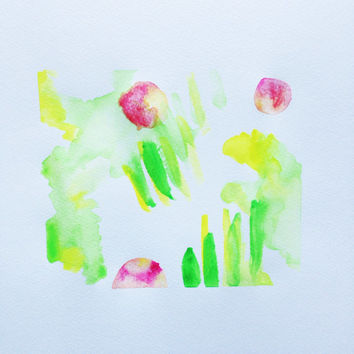 Abstract Watercolor Painting / Bright Minimal Modern Watercolor