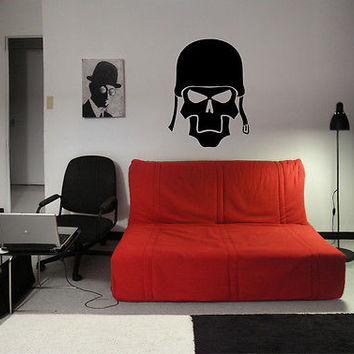 WALL VINYL STICKER  DECALS  MURAL MILITARY SOLDIER SKULL HELMET BOY ROOM  D832