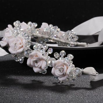 DCCKU62 new red white flower headbands bridal head accessories wedding crystal bride wreath hair jewellery  Hair Sticks