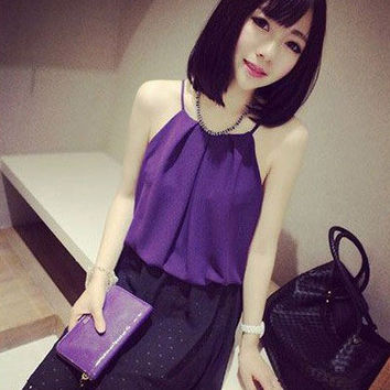 Sleeveless Halter Causal Chiffon Top