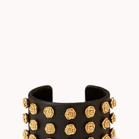 FOREVER 21 Cool-Girl Rose Cuff Black/Gold One