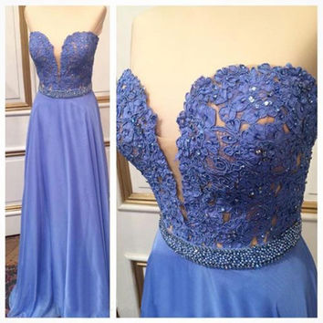 Lavender Applique Sweetheart Prom Dresses