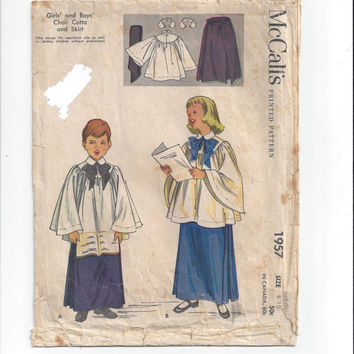 McCall's 1957 Pattern for Child Choir Cotta Robe & Skirt, From 1955, Size Medium 8-10, Vintage Pattern, Home Sewing Pattern, Vintage Sewing