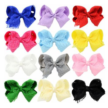 "12 PCS/Lot 4"" Inch Baby Girl Kids Hair Bow Alligator Covered Clips Accessories Handmade Barrettes Pins DIY Flower"