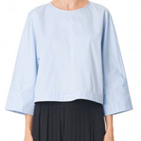 Tibi Satin Poplin Sculpted Cielo Top