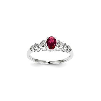 Sterling Silver Simulated Ruby & Diamond July Birthstone Ring