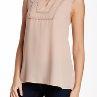 Detailed Trim Sleeveless Blouse