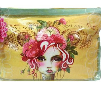 Vintage Victorian Lady w/ Pink Rose Graphic Art Design Oil Cloth Large Make-up or Accessory Travel Bag
