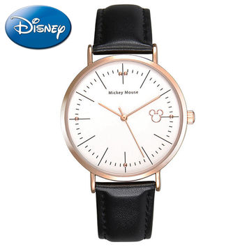 Famous Disney simple original leather band watch Women fashion casual quartz watches Hot Girls love Mickey mouse 11021 hour gift