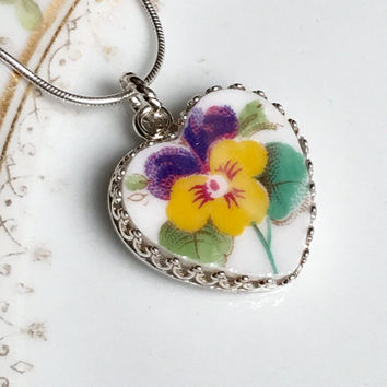Broken China Jewelry, Pendant Necklace, Sterling Silver Heart Romantic Gift for Her,  Victorian Pansy Vintage China, Birthday Gift