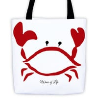 Red Crab Tote Bag Summer Fashion Beach Style Island Crustacean Red by Wave of Life™
