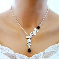 Black Pearl Orchid Necklace Sterling Silver Wedding Bridesmaid B - Wedding Jewelry | Handmade