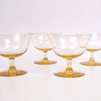 Vintage Amber Sherbet Glasses Fine Optic Panel Glass Low Champagne Stemmed 4 Glassware Gold Glass Dishes