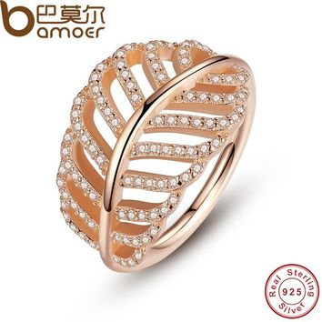 BAMOER 925 Sterling Silver Light As A Feather Ring Rose & Clear CZ Finger Ring for Women Wedding Authentic Fine Jewelry PA7144