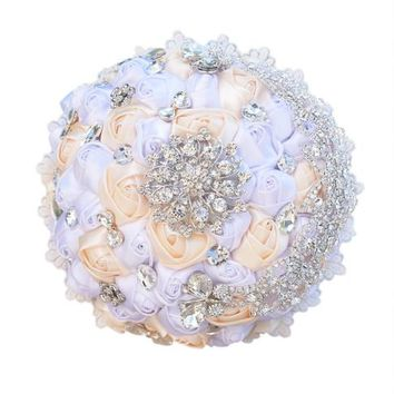 Bridal Flower Heavy Diamond Pearl Bead Silk Wedding Bride Bouquets Flower Girl Hand Holding Wedding Bouquet