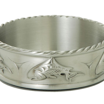 Salmon Wine Bottle Coaster in Fine Pewter - Made in Canada