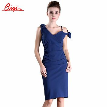 Qiqi New Fashion Summer Style Sexy Formal Bodycon Dress Elegant Sleeveless Bow Pencil Dresses Office Wear Women Work Clothes