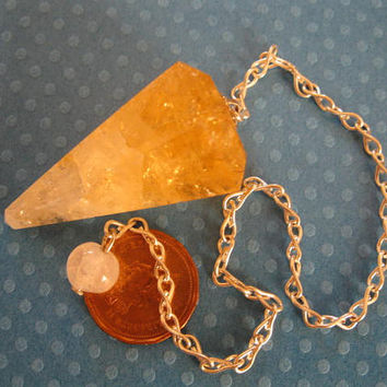 Citrine crystal drop pendulum -Perfect for beginners to to add to your collection