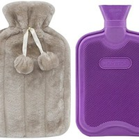 Premium Classic Rubber Hot Water Bottle and Luxurious Faux Fur Plush Fleece Cover w/ Pom Pon Decor (Beige)