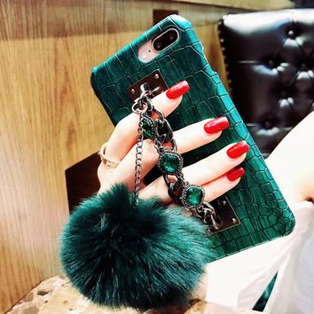 Crocodile Skin Diamond Bracelet Chain Fox Fur Ball iPhone Case
