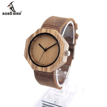 Bamboo Wood Watch with Cow Leahter Strap Quartz Analog Unisex Wooden Men Wristwatch In Gift Box