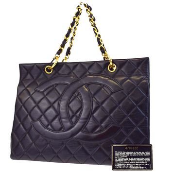 Authentic CHANEL CC GST Quilted Chain Hand Tote Bag Leather Black France 45EA449