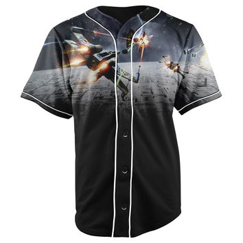 Star Wars Black Button Up Baseball Jersey
