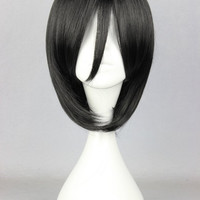 35cm Attack on Titan-Mikasa Ackerman black Anime Cosplay Costume Wig Alternative Measures