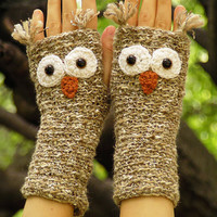 Night OWL FINGERLESS GLOVES (Birch Bark) - Free Shipping Worldwide
